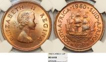World Coins - South Africa as British Colony. Elizabeth II. BRZ 1/2 Penny 1960. NGC MS64 RD