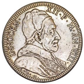 World Coins - Papal States. Pope Innocent XII - Antonio Pignatelli. (1691-1700). AR Piastra 1698.