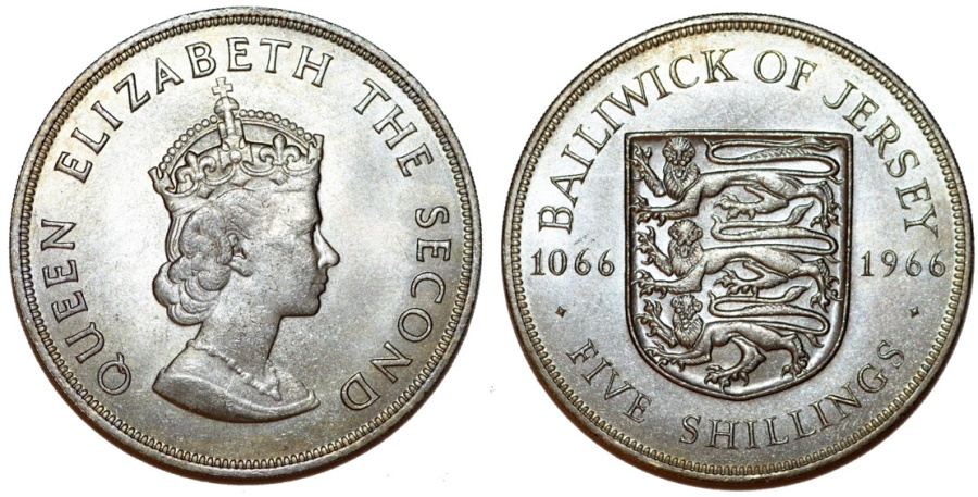 World Coins - Great Britain rule: Jersey. Commemorative 5 Shilling 1966. Norman Conquest. Choice UNC