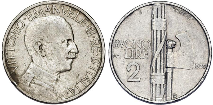 World Coins - Kingdom of Italy. Ni 2 1925 R. VF, scarce date
