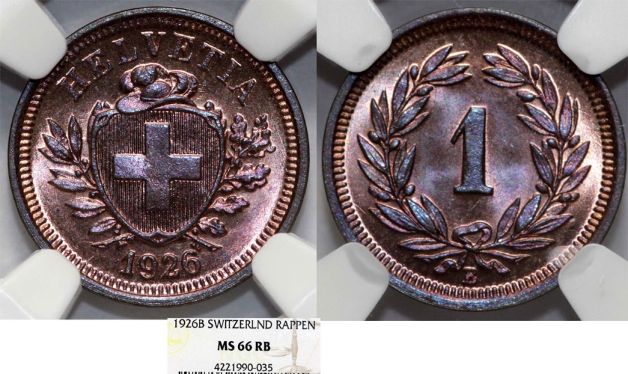 World Coins - Switzerland. Federation issue. AE 1 Rappen 1926 B. NGC MS66 RB.