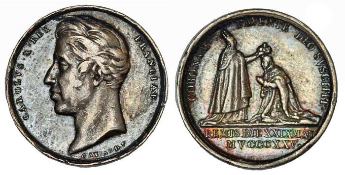 World Coins - France. Charles X. Small Coronation AR Medal 1825. Nice VF