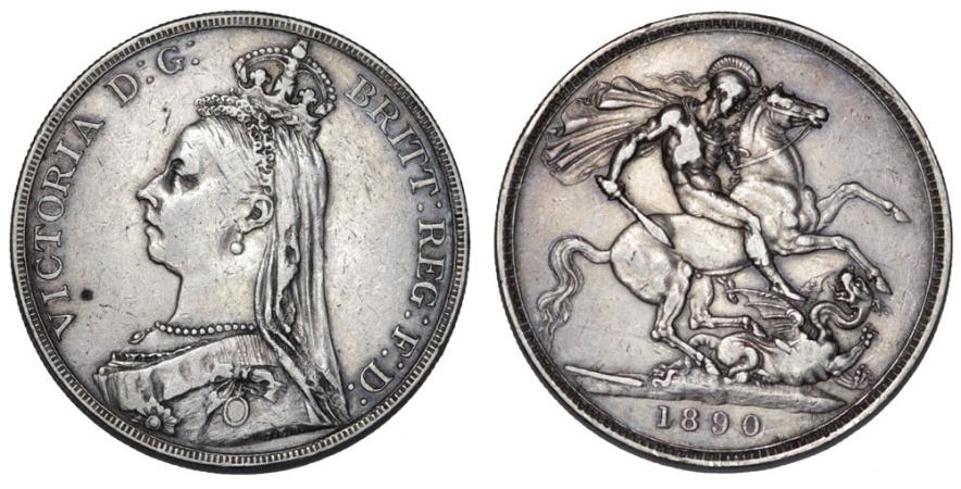 World Coins - Great Britain. Victoria. AR 1 Crown 1890. VF
