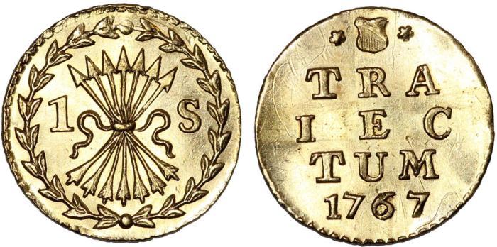 World Coins - Netherlands. Untrecht. United Provinces. Gold 1 Stuiver 1767. CHoice AU, RARE