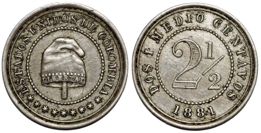World Coins - Colombia. Republic. CU-NI 2 1/2 Centavos 1881. Nice XF