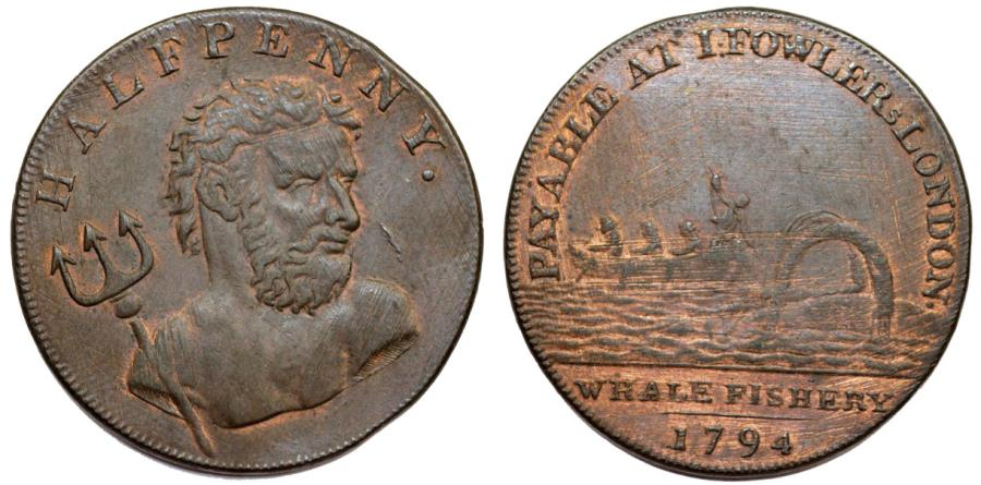 World Coins - Great Britain. Middlesex. London. Fowler's Whales Fishery. CU Halfpenny Token 1794. XF