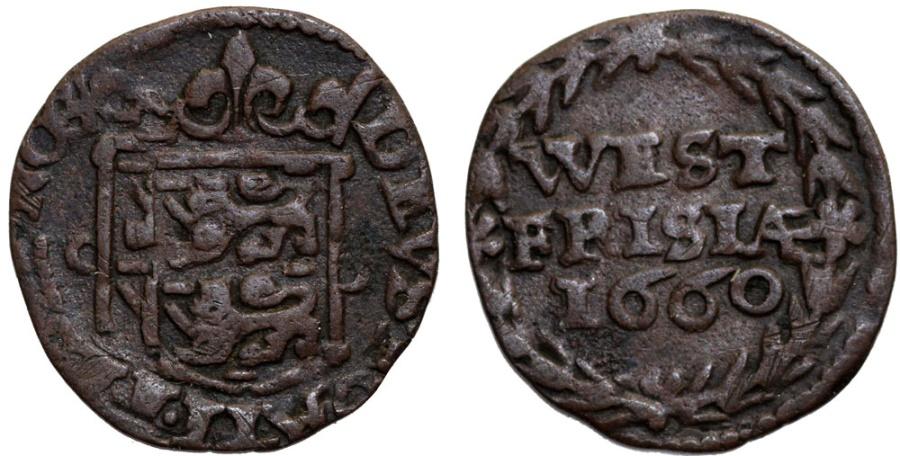World Coins - Netherlands. Provinical - West Friesland. Cu Duit 1660 . VF+, toned