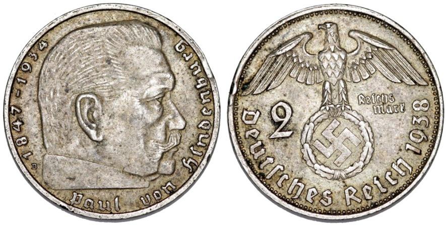 World Coins - Germany. Third Reich. AR 2 Mark 1938 D. (Swastika)  XF.