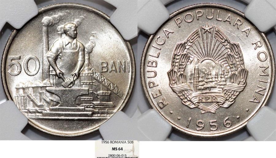 World Coins - Romania. People's Republic. CU-NI 50 Bani 1956. NGC MS64