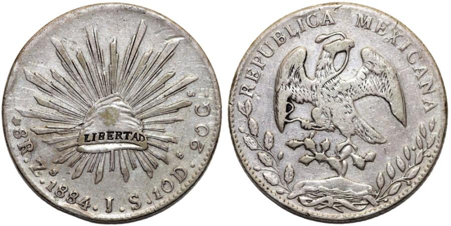 World Coins - Mexico. Republic. AR 8 Reales 1884 Zs FZ. VF+