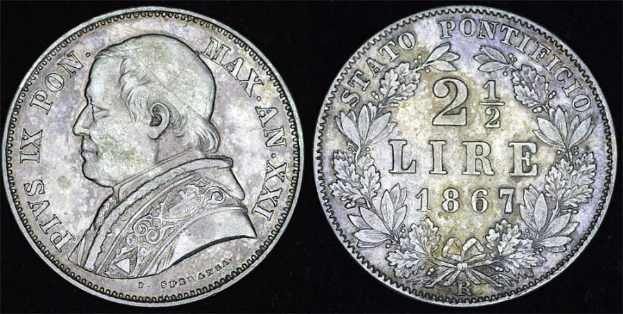 World Coins - Italy. Vatican. Pope Pius IX (1846-1878). Silver 2 1/2 Lire 1867R (year XXI). Nice XF.