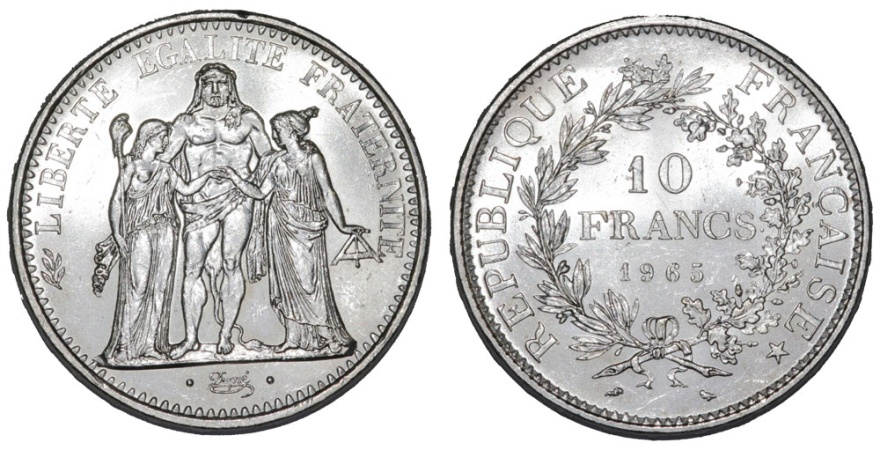 World Coins - France. AR 10 Francs 1965. Choice UNC