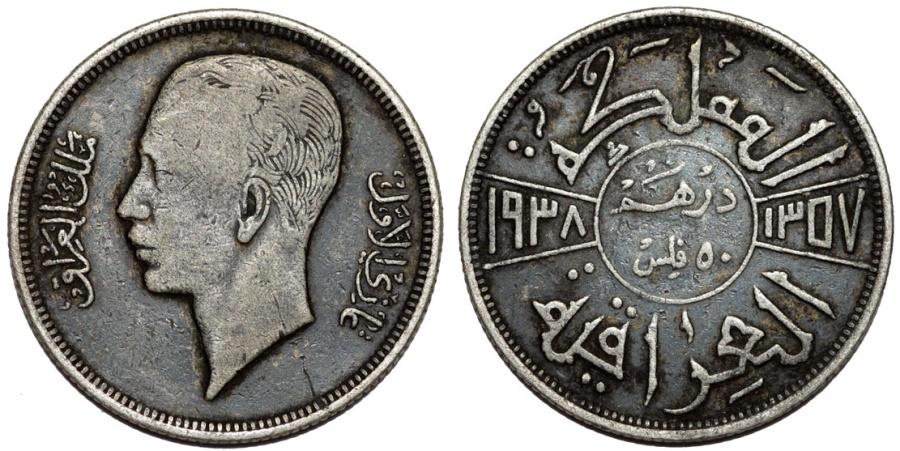 World Coins - Iraq. Kingdom. AR 50 Fils 1938. XF, toned