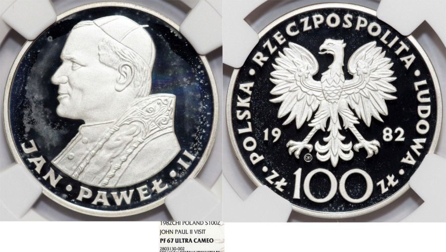 World Coins - Poland. RARE Silver 100 zloty 1982. Second visit to Poland of Pope John Paul II. NGC PF67 !