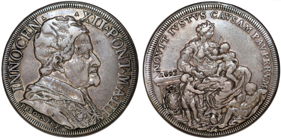 World Coins - Papal States. Pope Innocent XII - Antonio Pignatelli. (1691-1700). AR Piastra 1693. Toned Choice VF