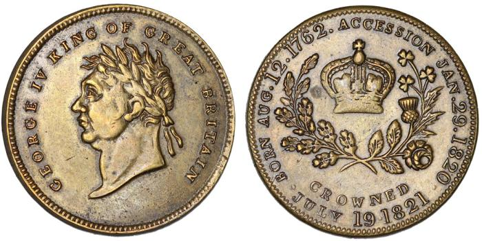 World Coins - Great Britain: Geroge IV. Scarce Coronation Jeton 1821. Choice VF, scarce