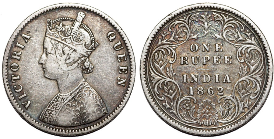 World Coins - British India. Victoria (1840-1901) Silver Rupee 1862C. VF, toned
