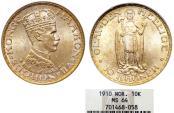 World Coins - Norway. Haakon VII. 1905-1957. Gold 20 Kroner 1910. NGC MS64