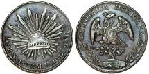 Mexico. Republic. AR 8 Reales 1877 Mo-MS. Choice XF, toned
