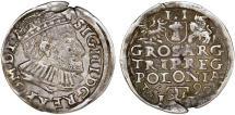 World Coins - Poland. Rzeczypospolita. Poznan. king Sigismund III. AR 3 Gross 1590, VF.