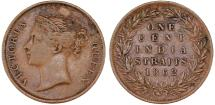 World Coins - Straits Settlements. India Straits issue. Victoria. CU 1 Cent 1862. Choice VF, Good date