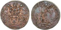 World Coins - France. Luis XIV. Copper Jeton 1674. To commemorate Victory of Spanish-Dutch Army. Nice XF