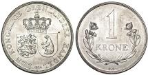 World Coins - Greenland ( as Danish State 1953-1979). Cu-Ni 1 Krone 1964. Choice AU/UNC