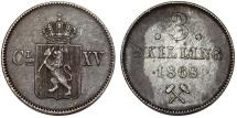 World Coins - Norway. Carl XV of Sweden. AR 3 Skilling 1868. About XF