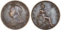 World Coins - Great Britain. Queen Victoria. BRZ 1/2 Penny 1896. Good XF