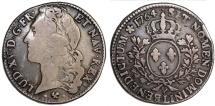 France. King Louis XV, 1715-1774. Silver Demi ECU 1764 L. Choice VF, toned