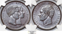 """World Coins - BELGIUM. Leopold I (1831-1865). 10 Centimes 1853. """"Marriage of the duke of Brabant. """" Essay in copper"""".  NGC XF45 BN"""