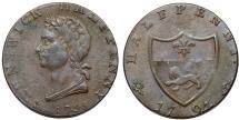 World Coins - Great Britain. Brunswick. John Kilvington, Copper Halfpenny Token 1795. VF