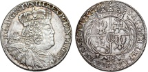World Coins - Poland - Saxony. August III (1733-1763). AR 18 Groschen 1755 EC. Nice Choice AU, GOOD DATE