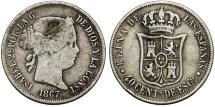 World Coins - Spain. Isabel II. CU. Suilver 40 Centimos 1867. aVF/VF
