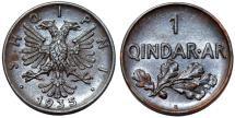 World Coins - Albania. Zog I. AE 1 Qindar-ar 1935 R. UNC