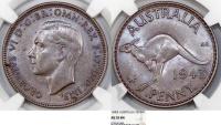Australia. Commonwealth. George VI. Cu Penny 1943-I. NGC AU55 BN