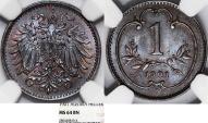 World Coins - Austria. Empire. Franz Joseph I. BRZ 1 Heller 1901. NGC MS64 BN