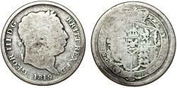 World Coins - Great Britain. George III. AR 1 Shilling 1819/18. Fine