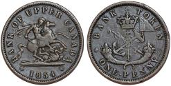 World Coins - Canada. Bank of Upper Canada. AE Half Penny Bank Token 1854. Choice VF