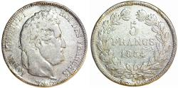 World Coins - France. king Louis Philippe (1830-1848). Silver 5 Francs 1834 W. FINE+