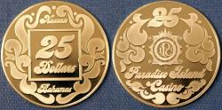 World Coins - Bahamas. Nassau. Commemorative Casino Token of 25 Dollars from Paradise Island Casino. Proof!