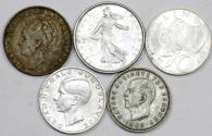 World Coins - Europe. Lot of 5 Silver coins. struck in XXc, XF to AU, cheap.