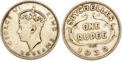 World Coins - British Colony of Seychelles. George VI. AR Rupee 1939. Choice VF, scarce