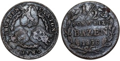 World Coins - Swiss Cantons. Graubunden. Cu 1/2 Batzen 1836. aVF, dark patina