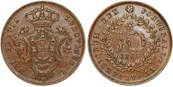 World Coins - Portugal. Luiz I. Islands of Azores. AE 10 Reis 1865. Choice XF