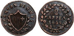 World Coins - Swiss Cantons. Schwyz. Cu 2 Rappens 1844. Beautiful Choice XF/AU