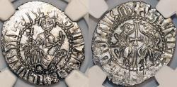 World Coins - ARMENIA. Levon I (1187-1219). AR Tram ND. NGC AU58