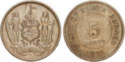 World Coins - British North Borneo. George V. CuNi 5 Cents 1921 H. XF
