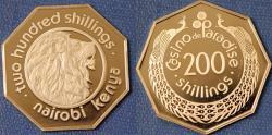 World Coins - Kenya. Naroibi. Commemorative Casino Token of 200 Shillings from Casino de Paradise. Proof!