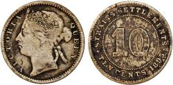World Coins - Straits Settlements. Victoria. AR 10 Cents 1895. about VF